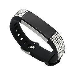 Black Bling Silver Rhinestone Fitbit Alta Bracelet Wristband