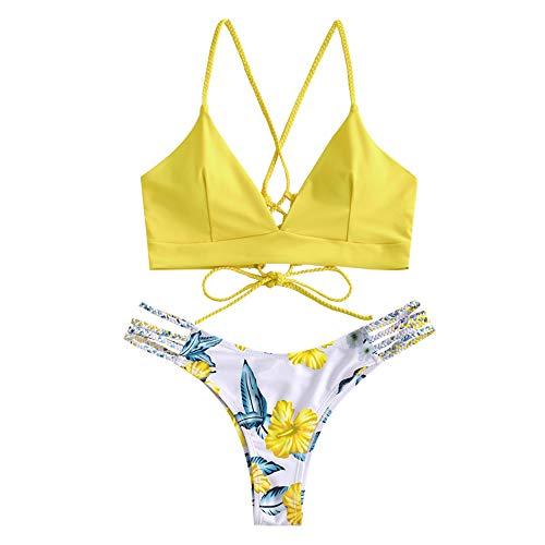 ZAFUL Damen Floral Leaf Lace Up Geflochtener Floral Bikini Set Zweiteiliger Badeanzug (XL, Hellgelb)
