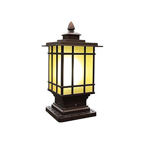 18 * 18 * 40CM Quadratische Außen-leuchte Sockelleuchten E27 Braun-Schwarze Gartenleuchten Aluminium Glas Pfostenlichter Wasserdicht IP44 Landhaus-Garten-Hof-Eingangs-Gehweg-Beleuchtung