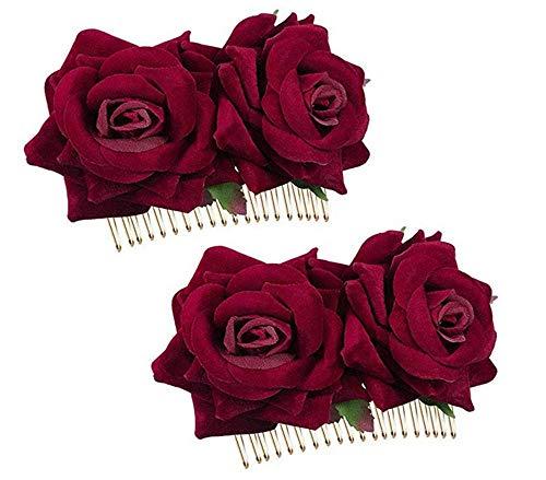 Preisvergleich Produktbild Rose Blume Haarspange, 2 Stücke Haarschmuck Blumen Rot Haarkämme Damen Kopfband für Frauenmädchen Hochzeitsfeier Flamenco-Tänzerin