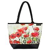 VON LILIENFELD Handtasche Damen Motiv Mohnblumen Shopper Maße L42 x H30 x T15 cm Strandtasche Henkeltasche Büro