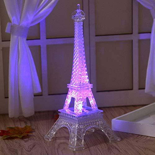 OSALADI 2pcs LED Light Up Eiffel Tower Night Light Creative Gift Acrylic Decorative Lamp for Bedroom (8 x 8 x 19cm)