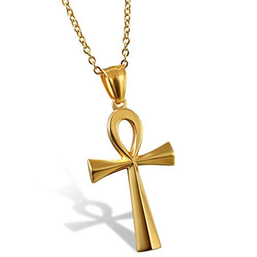 Oidea Halsketting met kruishanger, voor moederdag, roestvrij staal, goud, voor heren, dames, vintage, Egypte kruis, ketting 50 cm