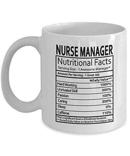 Nurse Manager Geschenke Nurse Manager Manager Nährwertangaben Label Nurse Manager Gag Geschenke - Geschenke Kaffeetasse Teetasse Weiß 11 oz - Lustige Geschenke für Manager