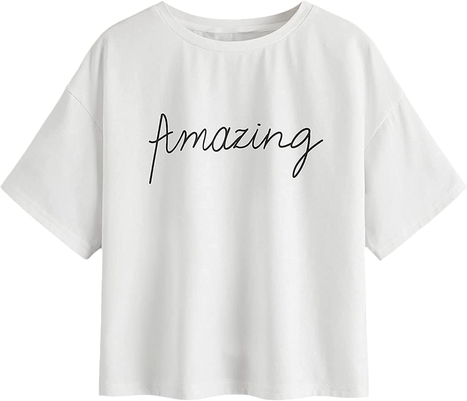Floerns Girls Casual Letter Graphic Print Short Sleeve Tee Shirts Top