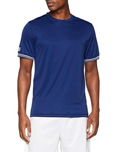 Wilson Homme T-Shirt de Tennis à Manches Courtes, M TEAM SOLID CREW, Polyester, Bleu (Blue Depths)/Blanc, Taille M, WRA765304