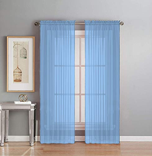 Interior Trends 2 Piece Fully Stitched Sheer Voile Window Panel Curtain Drape Set (63' Long, Light Blue)