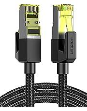 UGREEN Cat7 Ethernet Kabel Nylon Nätverkskabel med RJ45 Kontakt 10Gbps 600MHz Cat7 FTP Lan Kabel Cat7 Kabel Kompatibel med Cat6 Cat5e Cat5 Patchkabel för Router, PS5, PS4, PS3, Modem, Switch, TV etc. (10M)