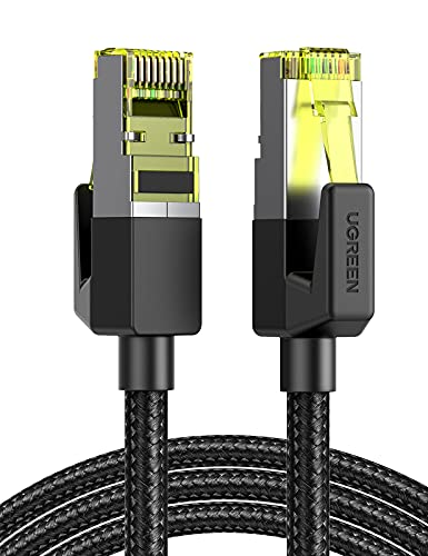 UGREEN Cable de Red Cat 7, Cable Ethernet Nylon Trenzado Cable LAN 10000Mbit/s con Conector RJ45 (10 Gigabit, 600MHz, Cable FTP) para PS5 Xbox X/S PC Macbook, Compatible con Cat 6, Cat 5, 1 Metro