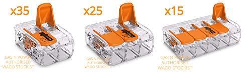 WAGO 221-412 x35, 221-413 x25, 221-415 x15 Conector Conductores 0.14-4 mm2. Diseño compacto con palanca por Gas N Pow3r