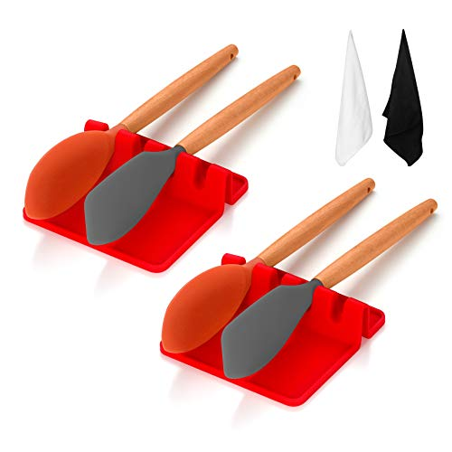 2 x Heat-Resistant Silicone Utensil Rests with Drip Pad for Multiple Utensils, Spoons, Brushes Spatulas, Ladles, Forks, Tongs & more for use While Cooking, BPA-Free with 2 x Micro Fibre Towels