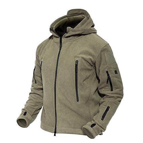 MAGCOMSEN Herren Windjacke Kapuzenjacke Combat Militär Jacke Tactical Fleece Jacke mit Taschen US Army Jacke Jagdjacke für Herren Armeegrün M