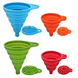 Silicone Collapsible Funnel Set 4 Pack Small + Large, Maberry Foldable Kitchen Funnel for Water Bottle Oil Liquid Powder Transfer, Portable Food Grade Silicone Funnel