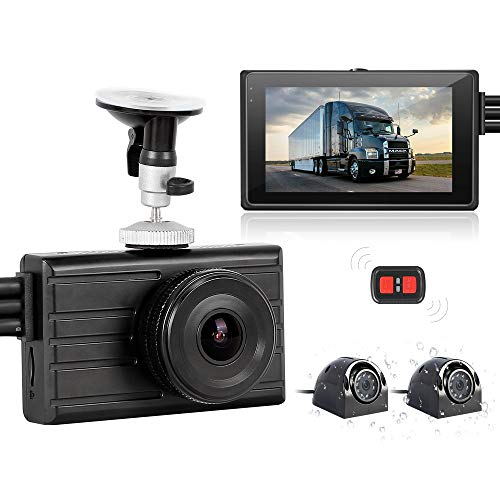 "VSYSTO 3CH Dash Cam Record Camera Recording Backup DVR Front 1080P Side & Rear VGA View Blind Spot for Semi Trailer Truck Van Tractor Car Vehicle with Waterproof Lens Infrared Night Vision 3"" LCD"