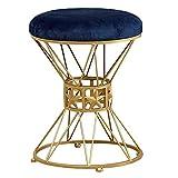 WSK-Hocker Arbeitshocker Sitzhocker Rund Einfaches modernes Dressing Hocker Gold Metal Beine Polster Fußstützen, for Küche Schlafzimmer Wohnzimmer, Grau Samtsitz (Color : Blue, Size : 35...