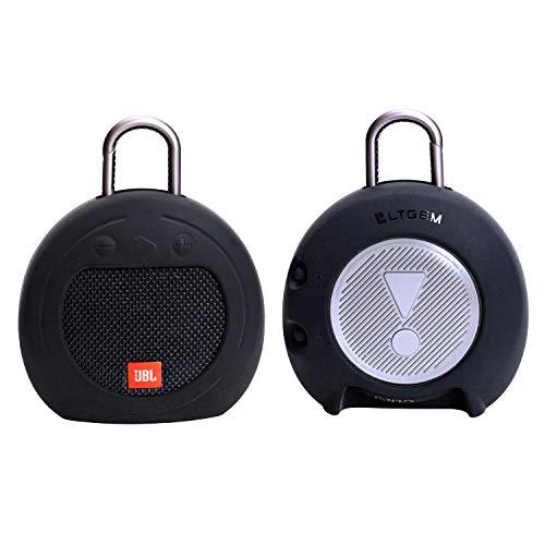 LTGEM Silicone Carrying Travel Case for JBL Clip 2 or JBL Clip 3 Waterproof Portable Bluetooth Speaker - Black