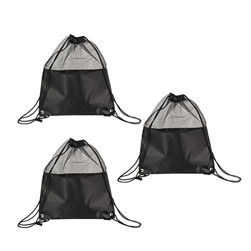VORCOOL Sac à Cordon Net Mesh Polyester Matching Equipment Sacs Sacs à provisions pour Sports Beach Black Pack de 3
