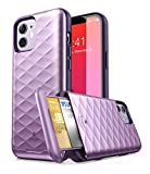Clayco Argos Series Wallet Case for iPhone 12/12 Pro 6.1'(2020 Release), Slim Card Holder Protective Wallet Case Built-in Sliding Credit Card/ID Card Slot (Purple)