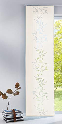 Gardinenbox Moderner Flächenvorhang Raumtrenner Schiebegardine Tendril aus hochwertigem Ausbrenner-Stoff mit Paneelwagen, 245x60 (HxB), Creme, 85611