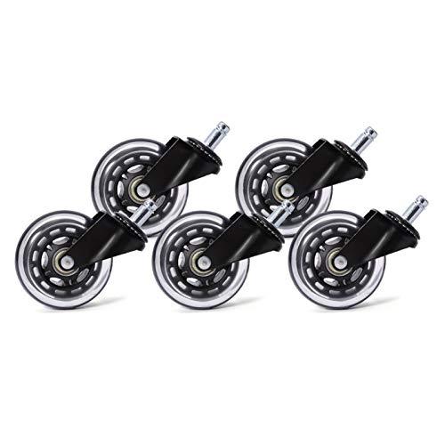 WAZA 5 piezas ruedas giratorias de goma 3 pulgadas silla de oficina ruedas de repuesto 60 kg suave y seguro Rollerblade estilo Rollerblade Rollerblade estilo/ajuste universal