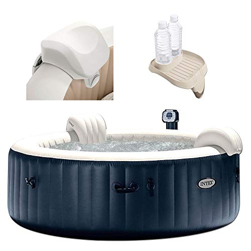Intex 28409E PureSpa 6 Person Home Outdoor Inflatable Portable Heated Round Hot Tub Spa 85-inch x 28-inch with 170 Bubble Jets, Built in Heat Pump, Soft Foam Headrest, and Cup Holder/Drink Tray