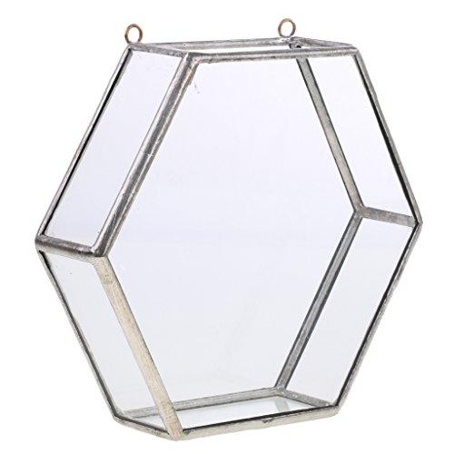 VANKOA Sechseck Glas Hängen Geometrische Terrarium Box Pot Künstlerische Home Party Decor - Silber