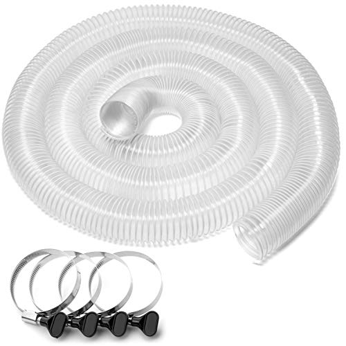 Yellowhammer Dust Management Deluxe Ultra Clear Flexible Wire Reinforced PVC 2 1/2 Inch x 20 Foot Dust Collection Hose with 4 Each Key Hose Clamps