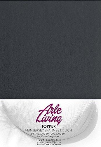 Arle-Living Topper Spannbettlaken/Spannbetttuch - Fein Jersey - 180x200-200x200 cm - 10cm Steghöhe - 170 g/m² - Boxspringbett- Rundumgummi (anthrazit/anthrasite)