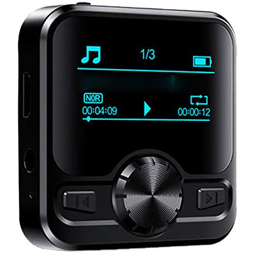 Bias&Belief Reproductor de MP3, Mini Reproductor de Música con Pantalla de 1.2 Pulgadas, Bluetooth, Libro Electrónico, Radio FM, Reproductor de MP3 Portátil para Correr y Hacer Ejercicio,16gb