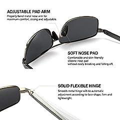 SUNGAIT Ultra Lightweight Rectangular Polarized Sunglasses Man UV400 Protection (Gunmetal Frame Gray Lens, 62) 2458 QKHUK #3
