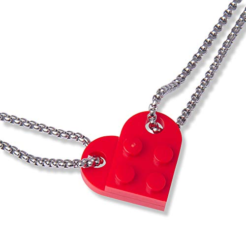 Harlington Group Red Toy Brick Necklace Love Heart Girlfriend, Partner, Mens Friendship Key Chain Toy Building Brick Plates Couples Gift