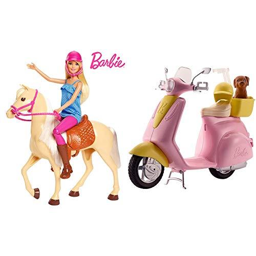 Barbie FXH13 - Pferd mit Mähne und Puppe mit beweglichen Knien, Puppen Spielzeug und Puppenzubehör ab 3 Jahren & FRP56 Motorroller, pink