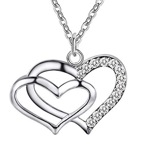 SONGAI Las Mujeres Collar de Plata Colgante Plateado Blanco cristalinos cúbicos Zirconia Doble en Forma de corazón Modelo Dulce del Estilo de Plata 2.2X1.7CM