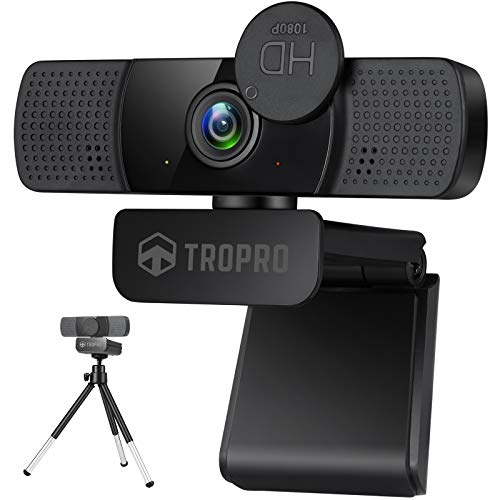 TROPRO Webcam for PC, Full HD 1080P Computer Camera with Cover, USB Web Cam with Microphone, Cover, Expandable Tripod, Streaming Camera for Skype, Zoom (Schwarz)
