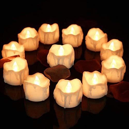 LED Kerzen, 12 Stück Flackernden led teelichter mit Timerfunktion, Flammenlose Teelichter, 6 Stunden an und 18 Stunden aus, elektrische flackernde batteriebetriebene kerzen (Warmes weißes Licht)