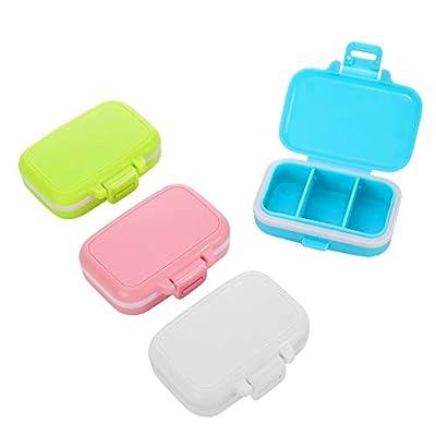 miuse 4 Farben Pillenbox 3 Fächer Pillendose Klein Tablettenbox mit 3 Abnehmbare Fächern, 4 Stück Vitamin Tablettendose/Medikamentenbox für Reise & täglichen Gebrauch, 8 x 5 x 2,5 cm