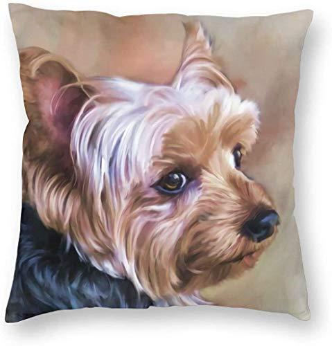 WHEYT Funda de Almohada Yorkie Funda de Almohada para Perro 16X16 Fundas de cojín de Felpa Suave Yorkshire Terrier Fundas de Almohada Decorativas
