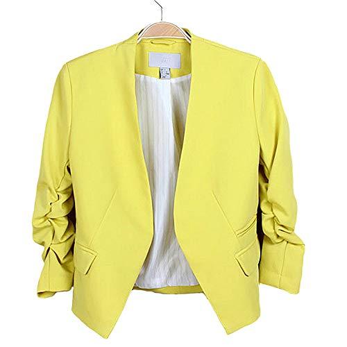 HOSD Giacca da Donna Fashion Giacca Stile Coreana Tinta Unita Tinta Unita Abito Slim Nessuno Bottone Giallo L