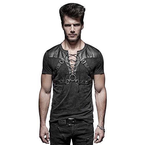 Punk Rave Schwarz Gothic Steampunk Soldat Strappy Short T-Shirt für Herren 4XL