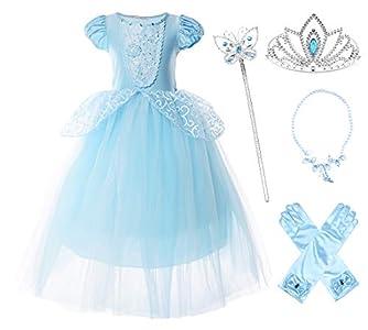 JerrisApparel Niña Princesa Cenicienta Disfraz Manga de Soplo Fiesta Vestido (6 años, Azul con Accesorios)