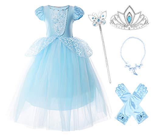JerrisApparel Niña Princesa Cenicienta Disfraz Manga de Soplo Fiesta Vestido (5 años, Azul con Accesorios)