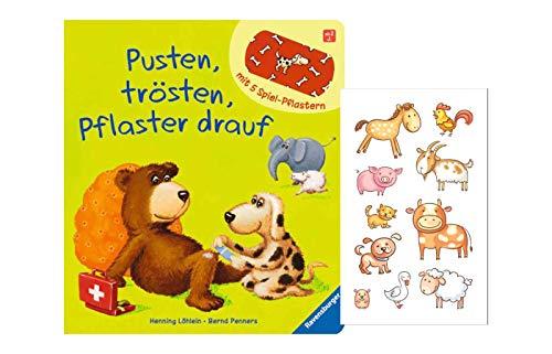Buchspielbox Pusten, trösten, Pflaster Drauf! (Pappbilderbuch) + 1x Tiersticker, Spielbuch ab 2 Jahren