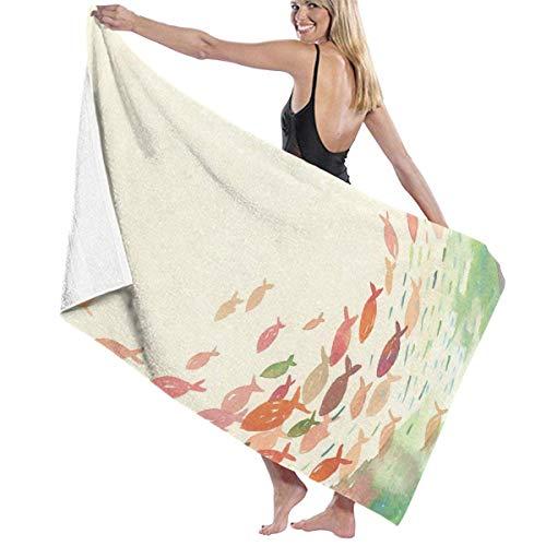Olie Cam Asciugamani da bagno Decorazioni per la Palestra Pesci ad acquerello Asciugamani per lavaggio a secco Asciugamani da bagno estivi per teli da spiaggia lunghi Unisex Super assorbenti