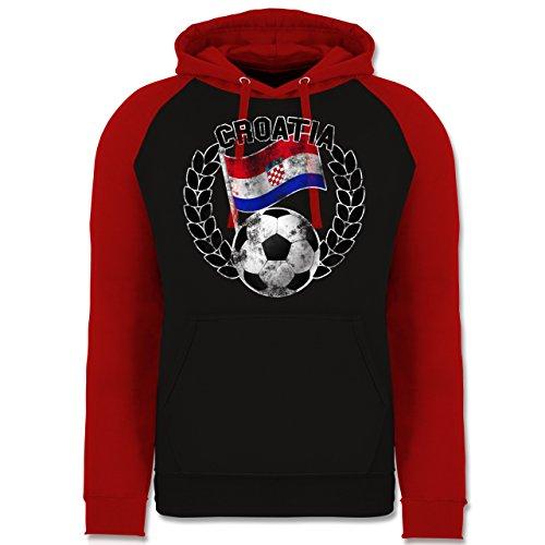 Shirtracer Fußball-Europameisterschaft 2020 - Croatia Flagge & Fußball Vintage - L - Schwarz/Rot - Russland Jacke - JH009 - Baseball Hoodie