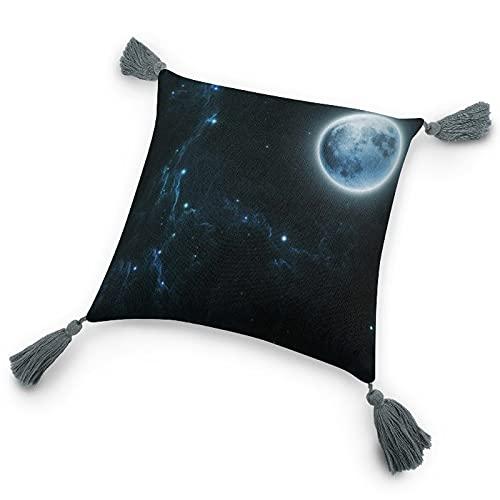 perfecone Hermosa almohada de algodón y lino con borla de Dream Moon andStars