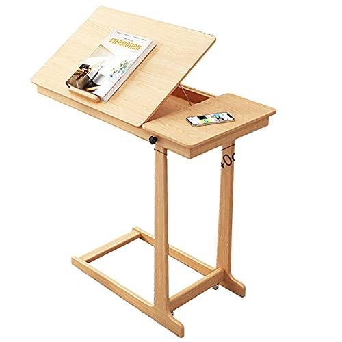 LJFYXZ Mesa de Ordenador Mesilla de Noche Escritorio para portátil de Madera Maciza Plegable con Espacio de Almacenamiento Escritorio de Cama Perezoso 80x40x73cm(Color:Color Madera)