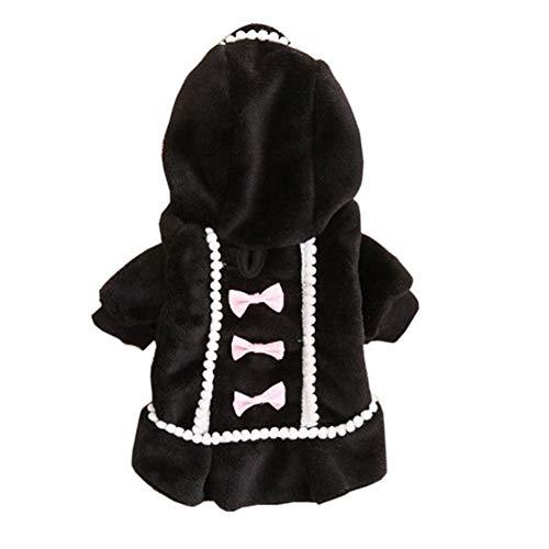 Lindo Suavizar Patrones Soft Negro /rosa del perro del chaleco ropa arco encantador de los nudos de las sudaderas con capucha capa del perro calentar Winte Personalizado ( Color : Black , Size : S )