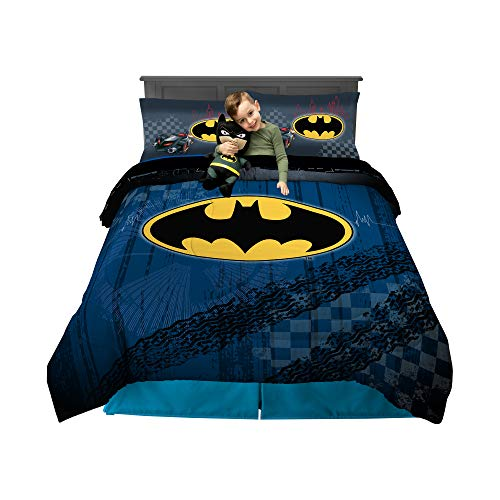 Franco Kids Bedding Super Soft Comforter with Sheets and Cuddle Pillow Bedroom Set, 6 Piece Full Size, Batman