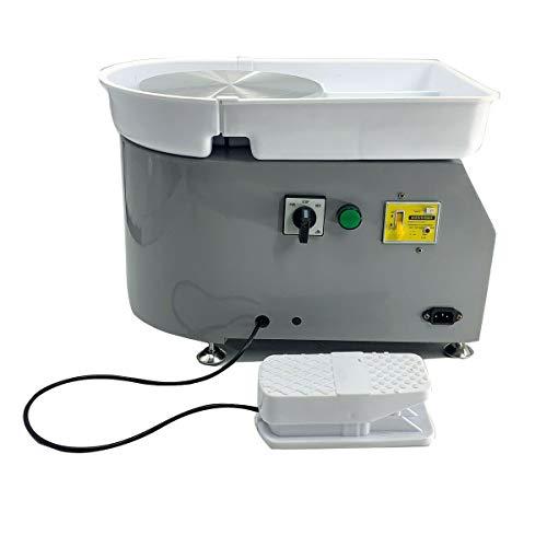 TABODD Máquina eléctrica de cerámica de 350 W, 25 cm, 220 V, con pedal independiente, color gris