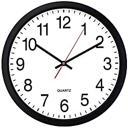 Bernhard Products Black Wall Clock, Silent Non Ticking - 16 Inch Extra Large Quality Quartz Battery Operated Round Easy to Read Home/Office/Business/Kitchen/Classroom/School Clock (16 Inch B)